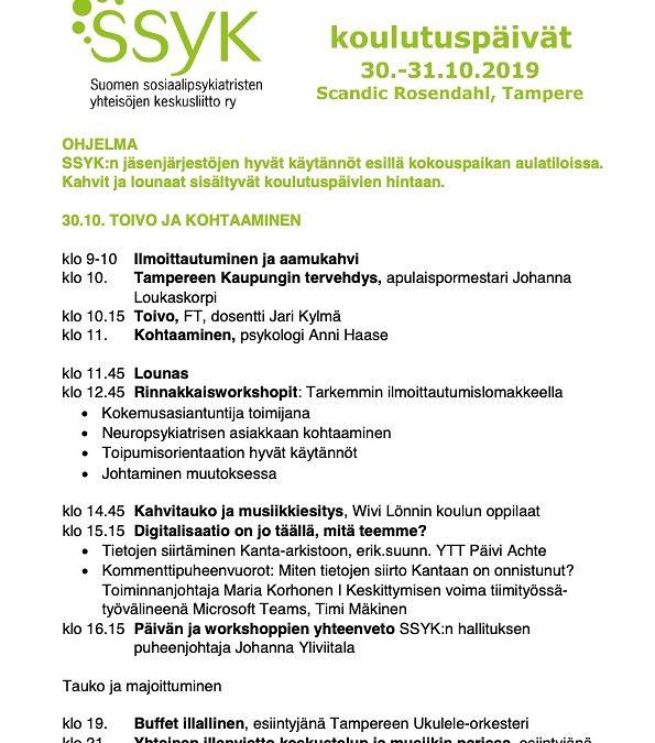 Koulutuspäivien 30.-31.10.2019 ohjelma